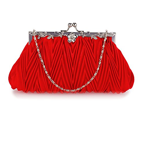 Elegant Evening Elegant FREE Crystal DELIVERY Red UK Clutch Red Bag qrHUPwq