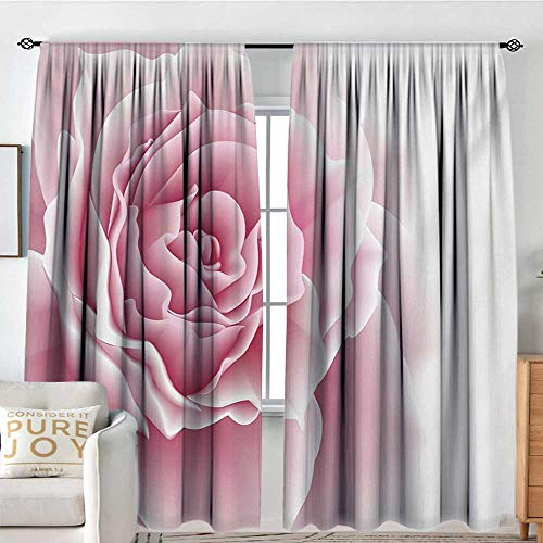 curtains for living room Pale Pink,Romantic Rose Petals Beauty Bouquet Celebration Bridal Romance Wedding Theme,Pale Pink White,Decor Collection Thermal/Room Darkening Window Curtains 100