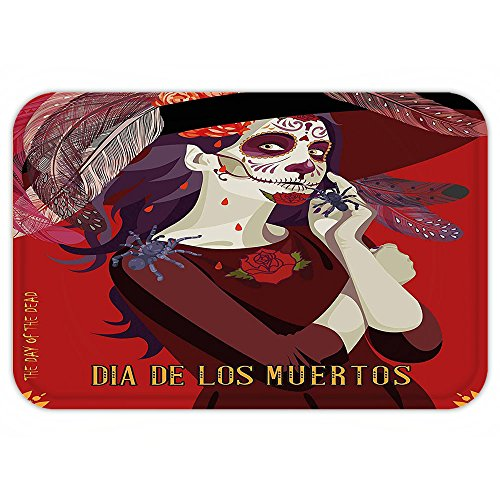 Exquisite Corpse Costume (Kisscase Custom Door MatDay Of The Dead Decor Skull Dead Corpse Cute Girl with Hat and French DresMaroon Ruby and Burgundy)