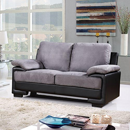 Modern Faux Leather and Brush Microfiber Sofa and Loveseat Living Room Furniture Set (Black / Grey)