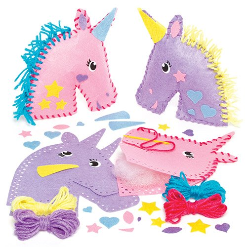 Baker Ross Felt Rainbow Unicorn Cushion Sewing Kits for Children to Make Decorate and Display as Summer Crafts (Pack of 2)