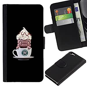 A-type (Coffee Funny Monster Small) Colorida Impresión Funda Cuero Monedero Caja Bolsa Cubierta Caja Piel Card Slots Para Apple (4.7 inches!!!) iPhone 6 / 6S