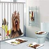 Bathroom 5 Piece Set shower curtain 3d print,Yorkie,Yorkshire Terrier with Stylish Hairdressing Equipment Mirror Scissors Decorative,Dark Brown Multicolor,Bath Mat,Bathroom Carpet Rug,Non-Slip,Bath To