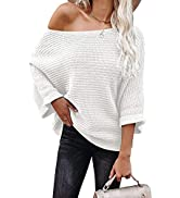 KIRUNDO Women's Off Shoulder Sweaters Batwing 3/4 Sleeves Casual Loose Fit Solid Pullovers Knit J...