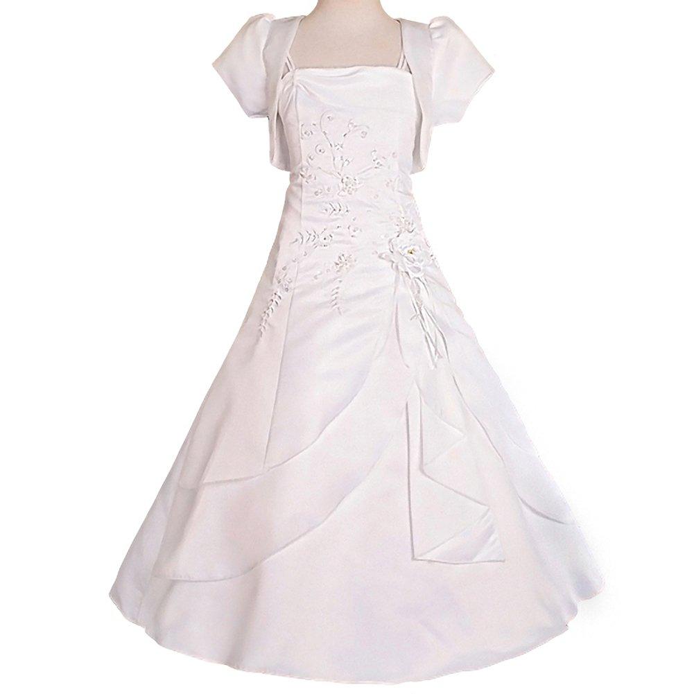 DRESSY DAISY Girls' Beading Satin Occasion Communion Dresses Wedding Flower Girl Dress With Bolero Size 9-10 White