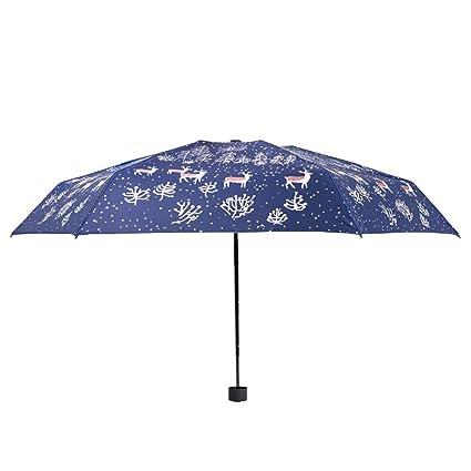93b72cdbee27 Windproof Mini Umbrella Sun Umbrellas Lightweight Travel Compact Folding  99% UV Protection Parasol Small Rain UPF 50+ (Wapiti-Pattern)