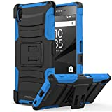 Sony Xperia Z5 Case, MoKo Shock Absorbing Hard Cover Ultra Protective Heavy Duty Case with Holster Belt Clip + Built-in Kickstand for Sony Xperia Z5 5.2 Inch (2015) - Blue