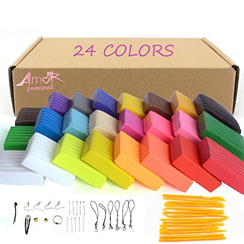 Amor 24 Colors Polymer Clay Modeling Magic Clay Safety Soft Oven Baking DIY Clay Set with Tools (Kid Friendly Halloween Baking)