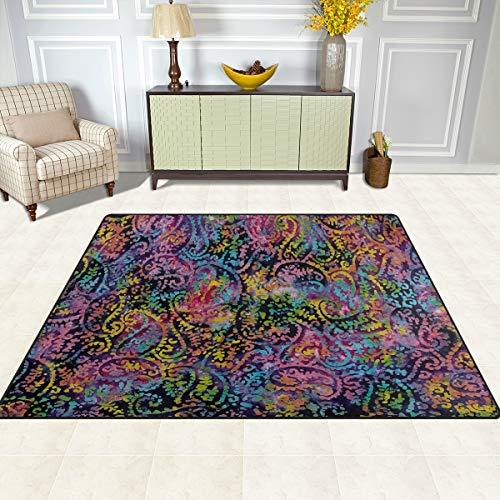 Gaz X Indian Batik Paisley Blue Area Rug Rugs for Living Room Bedroom 7' x 5'