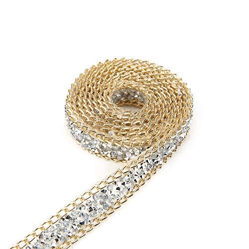 Akozon Diamond Ribbon, 5 Yard 15mm Gold Edge Silver Diamond Wrap Roll Rhinestone Ribbon Decoration Wedding Cake Bridal ()