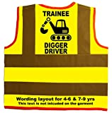 Trainee Digger Driver Baby/Children/Kids Hi Vis Safety Jacket/Vest Size 7-9 Years Yellow Optional Personalised On Front