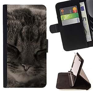 Stuss Case / Funda Carcasa PU de Cuero - Manx American Shorthair Cat Dormir - Motorola Moto E ( 1st Generation )