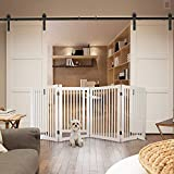 WELLAND Freestanding Wood Pet Gate w/Walk Through Door White, 88-Inch Width, 32-Inch Height (Set of Support Feet Included)