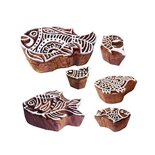 cks Retro Fish Pattern Wooden Stamps (Set of 6) ()