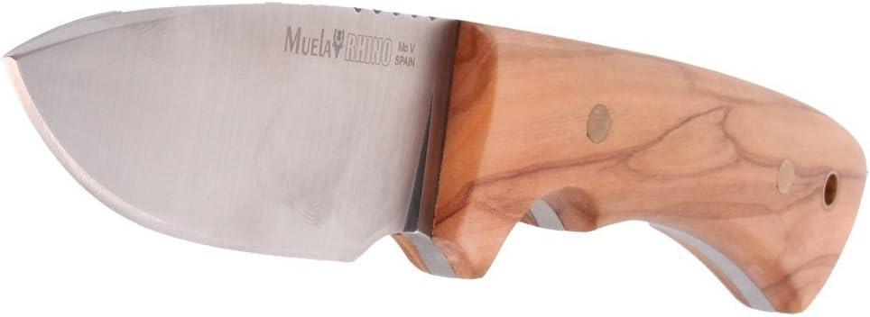 Tarjeta Multiusos de Regalo Electropolis Cuchillo Enterizo de Caza Muela Rhino Rhino-9.OL con Funda de Cuero cachas de Madera de Olivo tama/ño Total 20 cm