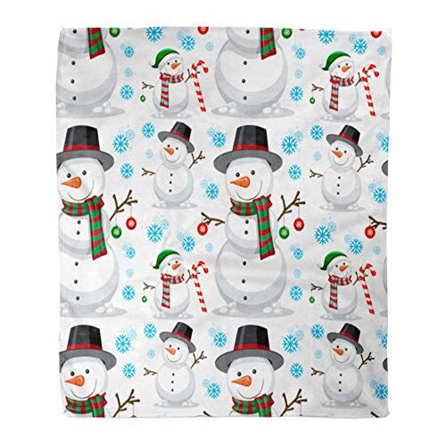 t Warm Cozy Print Flannel Candy Christmas Snowman Cane Cartoon Celebration Comfortable Soft for Bed Sofa and Couch 50x60 Inches ()