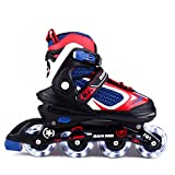 MammyGol Adjustable Inline Skates for Kids, Rollerblades Girls Boys with Light up Wheels Size 2-4 (Red & Blue & White)