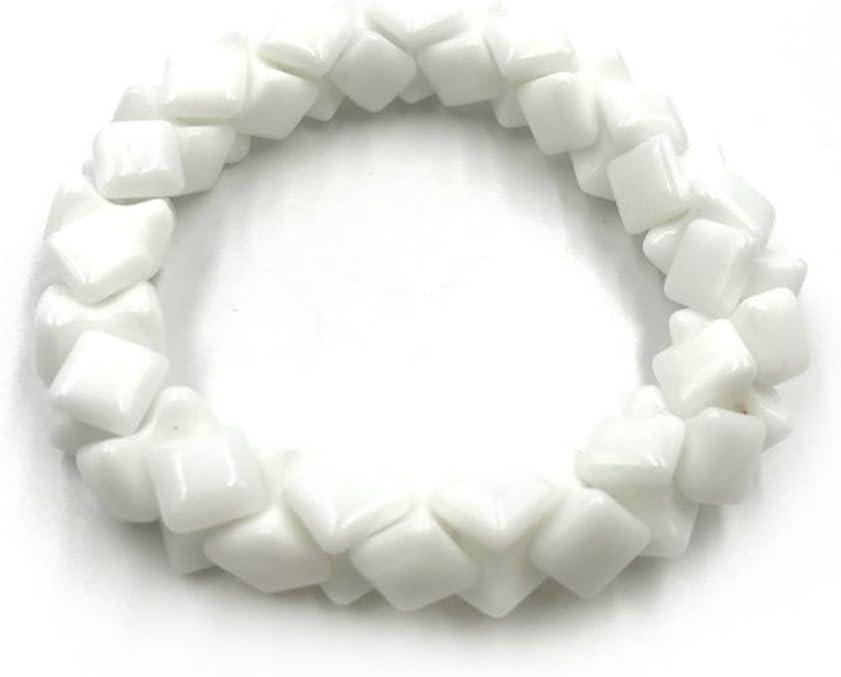 Skyllc® Cadena Exquisita de la Pulsera del cordón elástico de la Piedra de la Luna de la Forma Cuadrada Doble para Las Mujeres tamaño 10m m