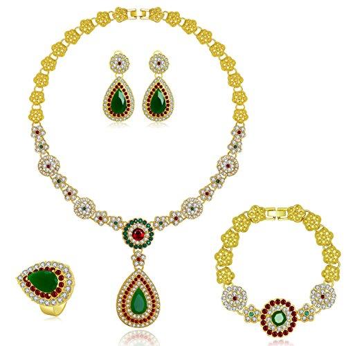 MOOCHI Women Gold Plated Jewelry Set Red & Green Cubic Zircon Pendant Necklace Earrings Bracelet Ring