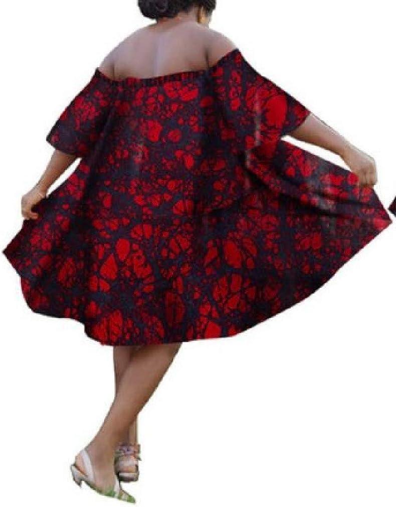 CuteRose Womens Dashiki Floral One Word Shoulder Lounge African Loose Dress As2