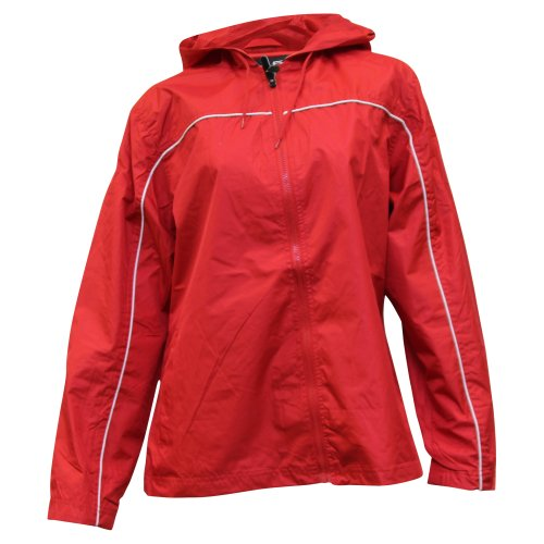 Ladies Single Piping Smart Jacket Windbreaker,X-Large,Red/White