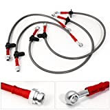For Honda Civic Acura Integra Front Rear Stainless Steel Braided Oil Brake Line Cable Hose Red End Cap