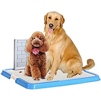 OWIKAR Indoor Pet Puppy Toilet Doggy Training Potty Patch Training Pad Portable Pet Park Corner Toilet with Wall for Male Dogs (With - Wall, Blue)