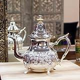 Tetera, Oriente, oriental, marroquí, de latón, plateado de ...