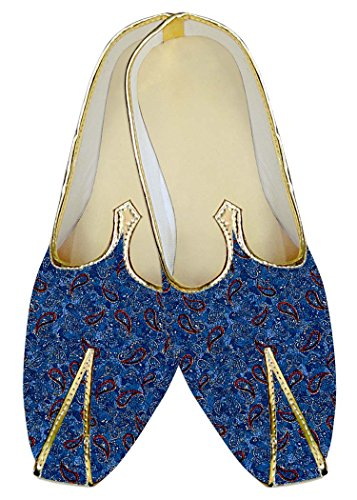 INMONARCH Herren Königlich Blau Hochzeit Schuhe Rot Paisley MJ013733