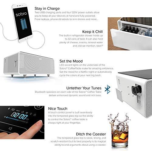 Coffee Table With Fridge Drawer: Sobro SOCTB300WHBK Coffee Table With Refrigerator Drawer