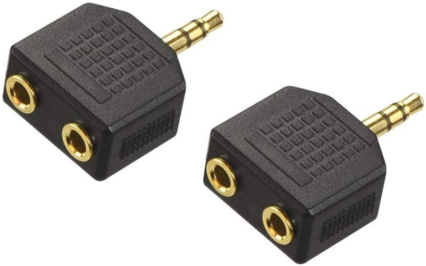 VCE 2-Pack Gold Plated 3.5mm Male to Dual 1//8 Inch Female Stereo Jack Adapter Y Splitter Headphone Converter