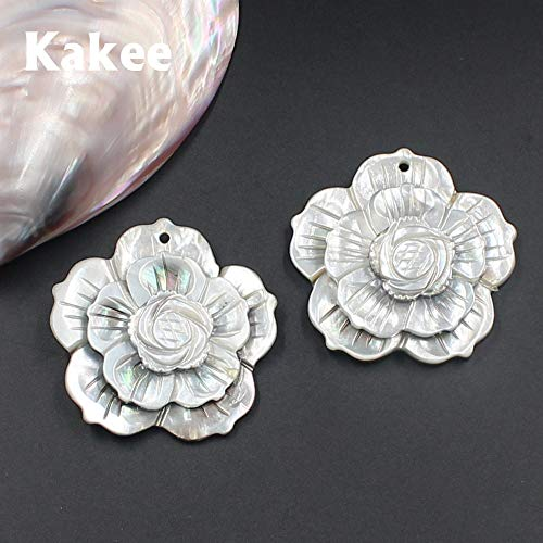 Pukido Natural Charms Carved Flower Mother of Pearl Black Shell Beads for Jewelry Making DIY Fashion Necklaces Pendants Materials ()