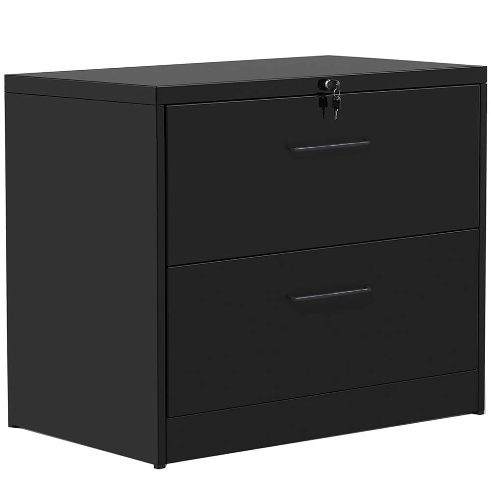 Lateral File Cabinet 2 Drawers with Lock, Heavy Duty Filing Cabinet for Home and Office (Black(Pull Handle)) by ModernLuxe