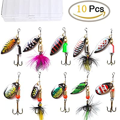KINGFO 10pcs Fishing Lures Spinnerbait For Bass Trout Salmon Walleye Hard Metal Spinner Baits Kit With Tackle Box