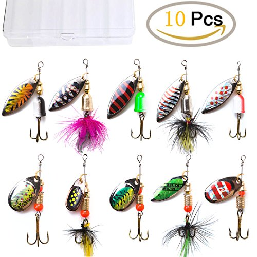 (KINGFO 10pcs Fishing Lures Spinnerbait For Bass Trout Salmon Walleye Hard Metal Spinner Baits Kit With Tackle Box)