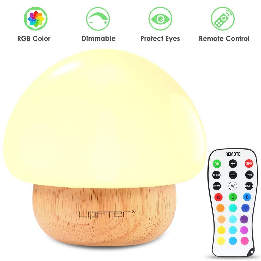 Baby Night Light, Mushroom Kids Child Night Lights with 16 Colors, Low-wattage, Adjustable Brightness, 4 Lighting Modes Bedside Soft Eye Caring LED Nursery Lamp for Feeding, Nursing, Changing Diaper