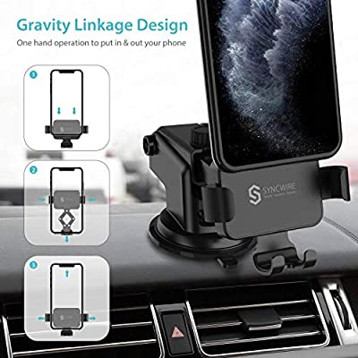 Transser Car Mount//Car Phone Mount Phone Mount Universal Car Cradle Mount Gravity Self-Locking Anti-Skid Base Compatible with Smartphones From 4.7 to 6.5 inches Black