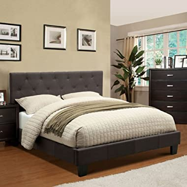 Corbin Modern Style Charcoal Gray Finish Eastern King Size Flax Fabric Bed Frame Set