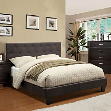 Corbin Modern Style Charcoal Gray Finish Cal King Size Flax Fabric Bed Frame Set