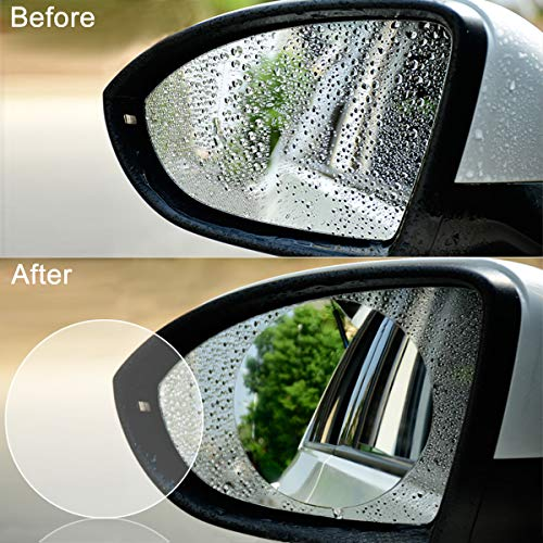 4 PCS Car Rearview Mirror Protective Film, Jelaty HD Anti-Fog Nano Coating Rainproof Film. Anti-glare,Anti-scratch Screen Protector for Rear view Mirror