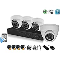 HDView 9CH Tribrid: 8 Channel DVR and 1 Channel NVR, HD 4-in-1 (TVI/AHD/Analog/IP) DVR Kit, with 1TB HDD, 4 x 2.4MP 1080P Infrared Security Cameras Package System, Surge-Protection