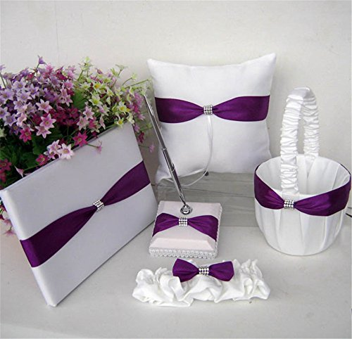 Lingstar Guest Book,Pen Set,Flower Girl Basket,Ring Bearer Pillow,Diamante Crystal Rhinestone Buckle,Wedding Party