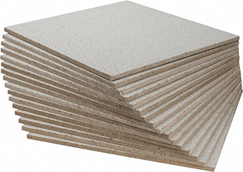 24 Inch Long x 24 Inch Wide x 5/8 Inch Thick, 0.55 NRC, Wet Formed Mineral Fiber Fine Fissured Acoustic Ceiling Tile