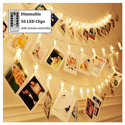 Dimmable 50 LED Photo Clips String Lights Holder with Remote