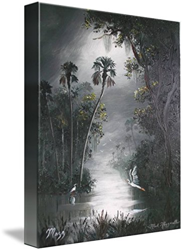 Florida Art Highwaymen Painting - Imagekind Wall Art Print entitled Misty Florida River Heron by Mazz Original Paintings | 11 x 14