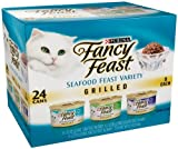 Fancy Feast Gourmet Cat Food, Grilled Seafood Variety Pack, 48 Cans (Value Size)