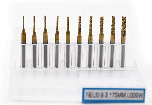 10 x 1//8/'/' 0.8-3.17mm PCB Drill Bit Set Engraving Cutter Rotary CNC End Mill