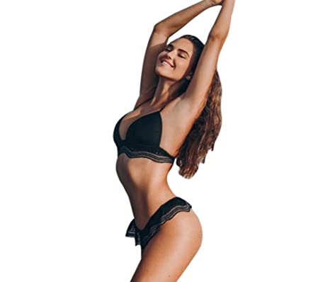 DEELIN SeñOras De Encaje De Color SóLido TriáNgulo Dividido Traje De BañO Bikini Lagartijas Engrosamiento Sujetador BañArse Ropa De Playa Negro Blanco: ...
