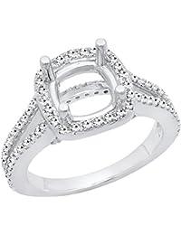 0.60 Carat (ctw) 14K Gold Round White Diamond Bridal Semi Mount Engagement Ring