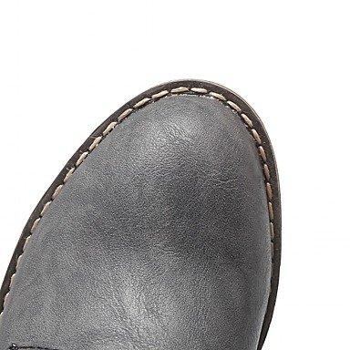 Heart&M Damen Schuhe Kunstleder Herbst Winter Komfort Neuheit Stiefeletten Stiefel Blockabsatz Runde Zehe Booties / Stiefeletten Schnürsenkel Für gray